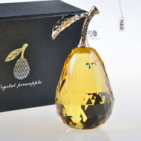 Crystal Paperweight Glaze Yellow 3D Pear Figurine Glass Ornament Xmas Decor Gift