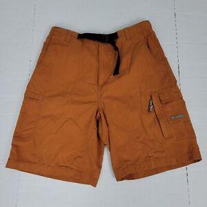 Columbia Cargo Belted Shorts Men Sz M Hiking Outdoor Burnt Orange Trunks EUC