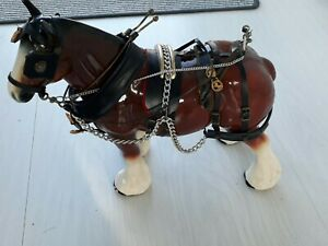 Large 33cm Vintage Shire Horse - Ceramic, with Tack