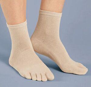 Women's Gel Cushioned Toe Socks Ankle High Gel-lined Heel Comfy Separate Toes