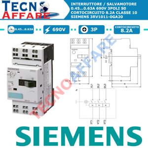 Salvamotore Protezione Motore Sganciatore 0.45...0.63A Siemens 3RV1011-0GA20
