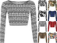 New Womens Aztec Animal Print Crop Top Ladies Leopard Long Sleeve Short 8 - 14