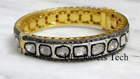 Natural Diamond Polki & Rose Cut Diamond 18k Gold & 925 Sterling Silver Bangle