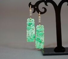 France 18 K Carved Jade , diamonds pendant earrings Art Deco