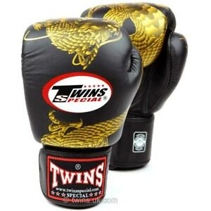 Twins Special Black-Gold Dragon Boxing Gloves Muay Thai Sparring Fight 10 12 14