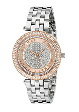 New Michael Kors Silver RoseGold Mini Darci Crystal Pave Dial MK3446 Women Watch