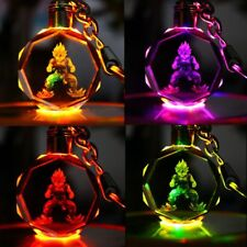Dragonball Z Saiyajin Goku Crystal Keyring Flash KeyChain LED light RGB Pendant