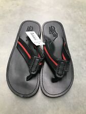 Men's Ralph Lauren Polo Black Leather Sandals Flip Flops - Size 11