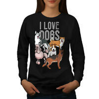 Wellcoda Dog Person Womens Sweatshirt, I Love Pets Casual Pullover Jumper