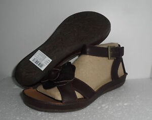 CLARKS PURELY CRYSTAL BROWN LEATHER OPEN TOES  SANDALS UK SIZE 7