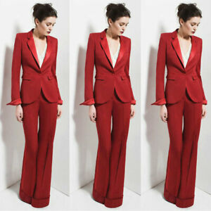Womens Pant Suit Red Elegant Office Lady Blazers Jacket Two Pieces Set Work Wear