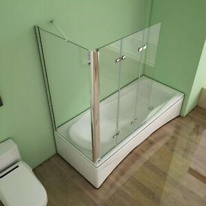 3-teilig Faltwand Badewannenaufsatz mit seitenwand Duschabtrennung Nano Glas