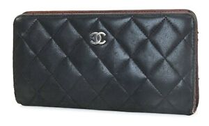 Authentic CHANEL Black Quilted Leather CC Long Wallet Coin Purse #40041
