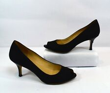 Bruno Magli Black Canvas Peep Toe Heels Size 6.5 Made in Italy