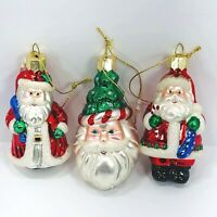Lao Mai Glass Christmas Ornaments Santa Set of 3 Santa Claus Holiday Decorations