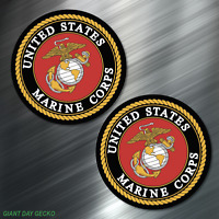 (2) TWO US MARINES Vinyl Decal Sticker For Car Laptop Skateboard NEW! USA Marine