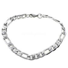 Women Men Gold Silver Jewelry Bracelet Figaro Chain Stainless Steel Bangle