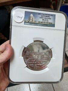 2011 -  5OZ SILVER 25C GETTYSBURG NGC EARLY RELEASES MS 69 PL - #704