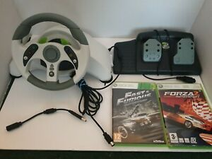 Xbox 360 Mad Catz MC 2 MicroCon Racing Wheel And Pedals + 2x Racing Games