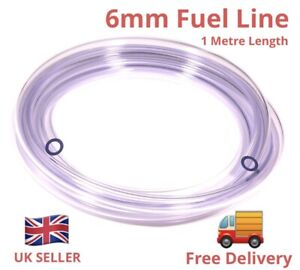 6mm id CLEAR PETROL OIL FUEL PIPE HOSE LINE. -* 1 Metre Length