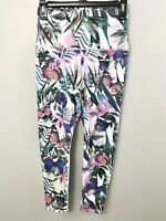 EVCR Evolution & Creation Yoga Leggings Sz M Tropical Foliage Butterflies