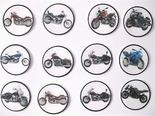 PRE CUT 12 EDIBLE RICE PAPER WAFER CARD MOTORBIKE MOTORCYCLE CAKE TOPPERS