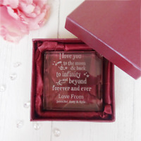 Personalised Engraved Glass Token Valentines Day Mothers Love you to the moon