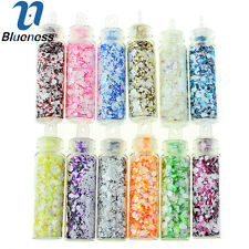 Blueness 12 Bottles Nail DIY Art Snowflake Charms Mix Decorations ZP225