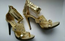 Sexy Anne Michelle Ankle Strap Stiletto  Heels Gold Zipper Heel Size 8 EUC