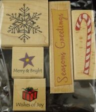 Mounted Rubber Stamps 5 Pcs Christmas Candy Cane Season's Greetings Snowflake