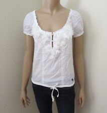 Abercrombie Womens Crochet Embellished Lace Top Shirt Size XS White Blouse