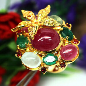 NATURAL PINK RUBY EMERALD PREHNITE AQUAMARINE SAPPHIRE & GARNET RING 925 SILVER