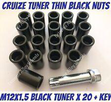 Alloy Wheel Nuts BLK Tuner x 20 M12x1.5 Toyota IQ Kijang Klugger Lexcen Inovva