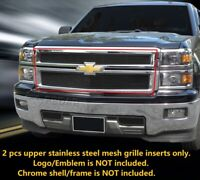 S/S Mesh Grille INSERTS Front Upper For Chevy Silverado 1500 Z71 2014-15