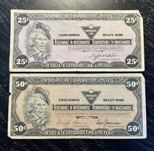 CANADIAN TIRE 25 CENTS 1985 & 50 CENTS 1987 CASH BONUS