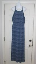 Old Navy Women's Long Dress Size L 95% Rayon 5% Spandex Blue Cool Stripe Design