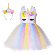 Kids Baby Girls Birthday Unicorn Dress Outfits Sequins Dress Clothes Set 2PCS