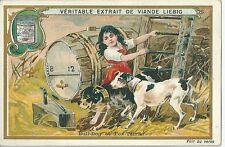 Chromo Liebig Chien Bull Dog Fox Terrier fermière ferme tonneau vin