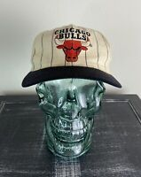 Vintage 90s Chicago Bulls White Starter Pin Striped Wool Snap Back Hat OS