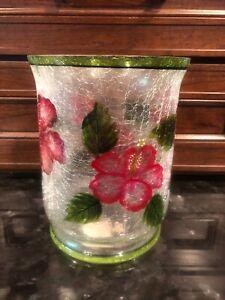 Yankee Hibiscus Crackle Glass Hurricane Jar Candle Holder