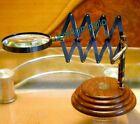 ANTIQUE TABLE TOP BRASS MAGNIFYING GLASS WOODEN BASE DESKTOP MAGNIFIER CHAINNER