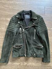 All Saints Mens Suede Leather Jacket Size S