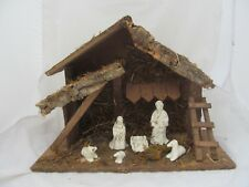 "11"" Nativity Scene Figure Set Italy Wood Stable Manger Holiday Christmas Decor"