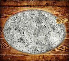 FUR ACCENTS Russian Wolf Faux Fur Round Area Rug White with Black Tips Shag