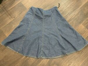 Jones New York Womens Size 14 Denim Skirt Midi Side Zipper