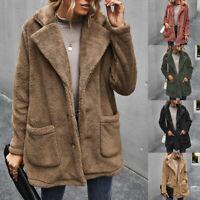 Women Warm Button Down Teddy Bear Coat Tops Ladies Fluffy Fleece Jacket Overcoat