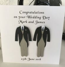 Gay Mr & Mr Same Sex Personalised Marriage Wedding Card Suits Navy Tie Male Men