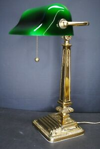 ANTIQUE DECORATIVE GOLD GILD BANKERS LAMP GREEN SHADE