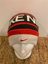 Nike Spell Out Ribbed Beanie Hat Cap Red Gray White Embroidered Swoosh