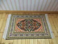 Dolls House Miniatures 1/12th Green & Orange Turkish Rug 10 x 14cm (D698C) *